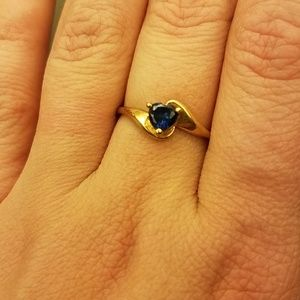 Delicate 10k Blue Sapphire Heart Ring